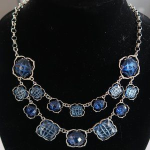 🆕 Cleo Statement Necklace Blue & Silver